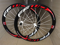 Wholesale Road Bike Decals - Original FFWD F5R 50mm full carbon carbon wheel fast forward bicycle carbon wheels 3k 700C tubular wheels red white decal cycling wheels