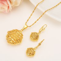 Wholesale gold filled kids bracelet resale online - gold Jewelry Set Pendant Chain Earring Jewelry Gold Color women Eritrea Habesha Party African girl diy charms kids gift