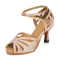 Wholesale Ladies Ballroom Latin Dance Shoes - skin Ladies Flesh Satin Crystal Rhinestone Salsa Ballroom Dancing Shoes Latin Dance Shoes Mambo Dance Shoes