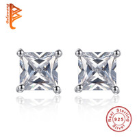 BELAWANG Trendy Men Women Boucles d'oreilles en cristal carré Pendentifs en forme de 925 Sterling Silver 4 Claw Princess Cut CZ Stud 5mm
