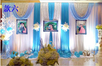 eisblau party dekorationen großhandel-Neue Hochzeit Hintergrund Decor 3X6 Mt Ice Silk White Hochzeit Hintergrund Vorhänge Mit Tiffanly Blue Swag Pailletten Plissee Hochzeit Dekoration