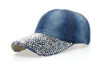 Wholesale Rhinestone Black Cowboy Hat - Wholesale- cowboy hat women Denim baseball cap Point drill pearl snapback Hat Outdoor Sport Rhinestone sun jean Hat casquette b111