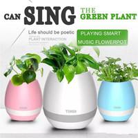 Wholesale Egg Audio Dock - Music Smart Vase Flowerpot Wireless Bluetooth Speaker Home Office Decoration Egg Shape Green Plant Flower Pots With Colorful LED Night Light