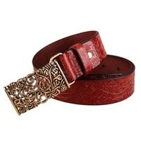 Wholesale Cinturones Vintage - Wholesale- 2016 Fashion Female Belts For Women Vintage Faux Leather Strap Metal Buckle Belt Women 2016 Women's Belts Cinturones Mujer