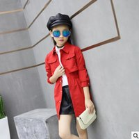 Wholesale Girls Size Trench Coats - Girls Trench New 2017 Spring and Autumn Children's Clothing Fashion Leisure 2 Colors Girls Windbreaker Trench Size 110-160 ly178