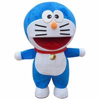 yetişkin anime karakteri toptan satış-Doraemon Robot Kedi Sevimli Karikatür Karakter Anime Manga Maskot Kostüm Yetişkin Takım Elbise