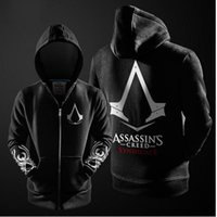Vente en gros-2016 Herbst hiver <b>Assasins Creed</b> Hoodie Manner Schwarz Cosplay Sweatshirt Kostum Fleece Gefuttert Assassins Creed Herren Hoodie