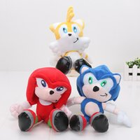 "Wholesale Sonic Doll - Sonic The Hedgehog 8"" 20cm Sonic Knuckles Tails Plush Toy Doll Key Chain stuffed animal dolls"