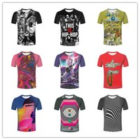 Wholesale Lining Tshirts - Personality Mens 3D Hip Hop Music Rock Colorful Lines with microphone cool gesture Black Green Printed short sleeves tshirts tops tee 011035