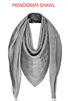 Wholesale Gray Fur Shawl - Dark gray Check Wool Cotton Cashmere Silk Scarves Scarf Wrap Shawl Pashmina 140x140cm