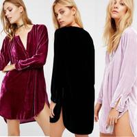 Wholesale Loose Velvet Dress - Leisure Loose Velvet Causal Women Dress 2017 New Designer V Neck Long Sleeve Fashion Short Dress Burgundy Pink Lavender Color In Stock