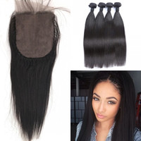 Wholesale Easy Deal - G-EASY Brazilian Virgin Hair with Closure Natural Black 8-30inch Brazilian Straight Hair 4 Bundle Deals with Silk Base Closure