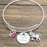 Wholesale Wholesale Stamped Charms - 12pcs lot Unicorn bracelet . I'm Really A Unicorn Silver tone crystals. Hand stamped Unicorn gift bangle