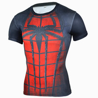 Wholesale Superman T Shirt Prints - 2017 Superhero Spiderman Fitness Compression Shirt 3D Captain America Punisher Superman T Shirt Bodybuilding Crossfit Tight Tees