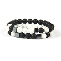 Celtic square mens ring - Mens Jewelry mm Best Quality Matte Agate White Howlite Marble Stone Square Beaded Bracelets for men