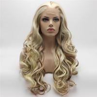 auburn medio ondulado pelucas al por mayor-Iwona Hair Auburn Light Blonde Mix ondulado peluca larga 5 # 1001/613/30 Mitad mano atada a prueba de calor peluca sintética del frente del cordón