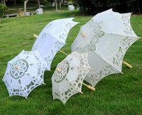 novias sombrillas al por mayor-Paraguas de encaje blanco de algodón hecho a mano Novia Parasol de boda Decoración Paraguas artesanal de encaje para Desfile de moda Decoración de fiesta