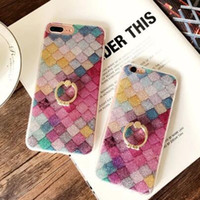 Wholesale apple fish - Dower Me Diamond Ring Grip Case For iPhone X 6 6S 7 8 Plus Colorful Fish Scales Bling Glitter Shiny Soft TPU Phone Cover