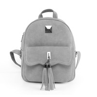 Wholesale Wholesale Fashion Korean School Bag - Wholesale- Solid Color New Tassel Women Backpacks Fashion PU Leather Lady Backpack Fashion Girls School Bag Cute Female Backpacks Bag