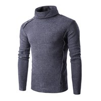Wholesale Thin Overalls - Wholesale- Men's new hot autumn winter half a turtleneck inclined button sets design sweater personality overalls White brown gray