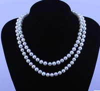 Wholesale Double Rows Pearl Necklace - Natural pearl necklace is nearly round 8-9 mm double double row multilayer authentic DIY female mode
