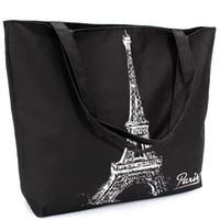 Wholesale Large Tote Patterns - Wholesale-Fashion Women Canvas Handbags Girl Shopping Shoulder Bag Letter Paris Eiffel Tower Pattern Handbag Casual Tote Large Space Hot