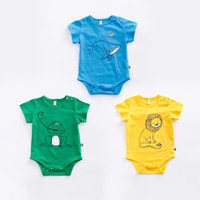 Wholesale Girls Frogs Clothing - 2017 baby boy girl clothing romper infant short sleeve bodysuits newborn jumpsuits lion whale frog kid clothes wear summer