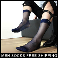 Wholesale Sheer Transparent Men - Mens Ultra Sheer Thin Socks Sexy Transparent Formal Dress suit socks Male Fetish Collection Sock Nylon silk socks