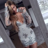 Deep V Neck Langarm Sequined Mantel Kleid Shining Paillette Perlen Party Kleider Langarm Frauen Marke Kleid Mini Bodycon yw-021