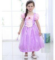 Wholesale Tutu Dress For Kids Outfit - Kids Princess Dresses Girls Fancy Dress Costume Party Outfit Cosplay Dress For Girl Top Quality Purple Tulle Dress Best Gifts free shipping