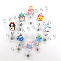 Wholesale Reel Id Badges - 8pcs Kawaii Cute Cartoon Character Retractable Badge Reel Student Nurse Exihibiton ID Name Card Badge Holder Office
