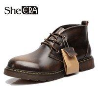 Wholesale Boot Shoe Brush - Wholesale- Plus Size Autumn Men Ankle Boots Genuine Leather Hit Color Brush Lace Up Platform Oxford Shoes Men Martin Boots