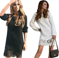 Wholesale xs gold bodycon dress - Wholesale- Warm knit sweater 2016 autumn winter women high quality lace office dress Casual Party Bodycon package hip Sheath Dress Vestidos