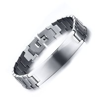 Wholesale Male Bracelet Charms - Meaeguet Fashion ID bracelets&bangles for men gold silver color charm hand link stainless steel male jewelry BR-238