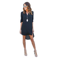 Wholesale Long Sleeve Clubwear Tops - Spring Summer Women Sexy Chiffon V-Neck Long Sleeve Shirt Dress Casual Solid Tops Plus Size Street Clubwear Mini Dress