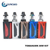 Original Tomahawk 80W kits de inicio 18650 Vape Mod y 2 ml 510 Thread Bottom Airflow Top llenado X9 Tank 100% ecig vape pens