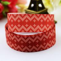 Wholesale Grosgrain Chevron Red - Red With White Chevron Striped Snowflake Christmas Red Grosgrain Rolls DIY Kids Girls Xmas Party Decorative Ribbon Supplies Hair Jewelry