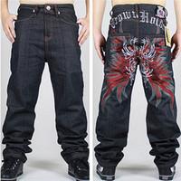 Wholesale Patterned Wide Leg Pants - Wholesale- Embroidery New 42 Men Hip-Hop Jeans Mens Long Loose Fashion Skateboard Baggy Relaxed Denim Casual HIPHOP Men Wide-legged Pants