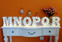 Wholesale Sign Alphabet Letters - Wholesale- 1pcs A-Z & White wooden letter LED Marquee Sign Alphabet LIGHT UP night light Indoor WALL Decoration Wedding Party Display Light