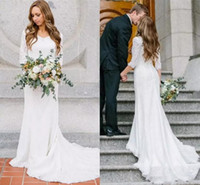Wholesale petite wedding dress line for sale - Group buy Elegant Modest Wedding Dresses Sheer Long Sleeves Bohemian Full Lace Bridal Gowns Cheap Country Beach Wedding Guest Dresses