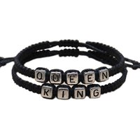Wholesale Personalized Lovers Bracelets - 1 Pcs Lovers Couples Faux Leather Charm Bracelet King and Queen Bracelet Personalized Fashion Jewelry Gifts