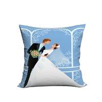 Wholesale Wedding Decorative Sofas - RUBIHOME Wedding Bridegroom Bride Creative Decorative Cushion Cover Throw Pillowcase Plush Polyester Fabric Home Decor Sofa