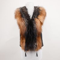 Wholesale Women Sheep Fur Leather Jacket - Women silver Fox Fur Vest Fashion Sheep Leather Winter Body Warm Sleeveless Jackets Women Fox Fur Collar Coat Waistcoat Gilet