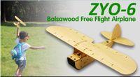 Wholesale Wood Airplane Models - Wholesale- Balsawood Free Flight Airplane ZYO-6 Wood Plane Model Boys Christmas Gift