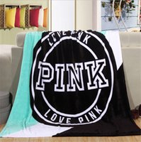 Wholesale Sofas Letter - Love Pink Letter Blanket Soft Coral Velvet Beach Towel Blankets Air Conditioning Nap Rug Carpet Throws on Sofa Bed Plane 130*150cm