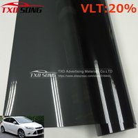 Atacado- Premium VLT 20% 50x300CM / Lote Preto Car Window Tint Film Glass 1 PLY Car Auto House Comercial Solar Lateral janela Tinte filme