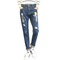 Wholesale Torn Jeans Women Plus Size - Wholesale- Winter Cartoon Denim Jeans High Waist Loose Boyfriend Jeans Female Ripped Jean Torn Harem Pants For Women Trousers Plus Size 5XL