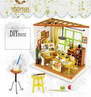 Wholesale Art Assembly - DIY art house doll house handmade house assembly model toys creative birthday gift Ida studio