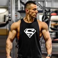 Wholesale Cheap Wholesale Tank Tops Men - Wholesale- Top 2016 summer cotton bodybuilding and fitness clothes Gymwear vest men Brand designer undershirt tank top cheap Plus size