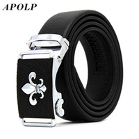 Wholesale Wholesale Designer Men Belts - Wholesale- APOLP Luxury Male Automatic Buckle Cowhide Leather Waist Belt Authentic Designer Genuine Belts Brands Waistband Men Strap cinto